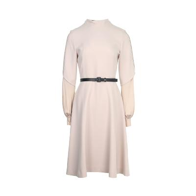 layered detail belted dress beige